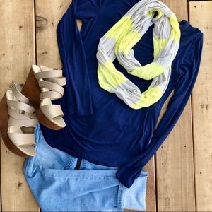 Chartreuse and ivory striped infinity scarf
